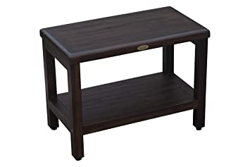 Marvelous Decoteak 24 Teak Shower Bench With Shelf Adjustable Height Feet Bath Shower Sauna Locker Room Gmtry Best Dining Table And Chair Ideas Images Gmtryco