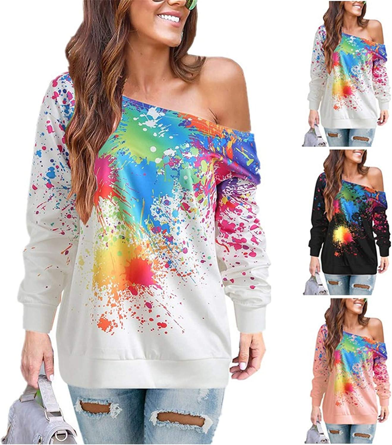 Soluo Womens Print Off Shoulder Sweatshirts Colorful Cold Off Shoulder Shirts Pullover Long Sleeve Slouchy Shirts