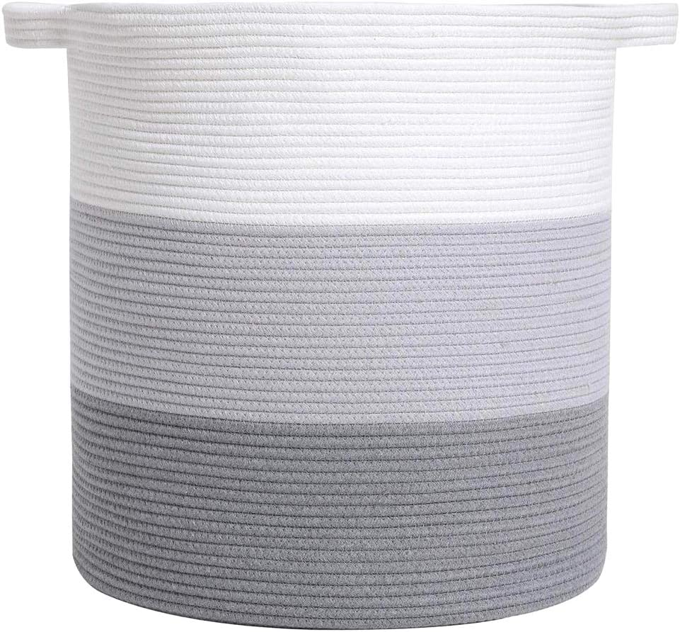 """Km Cotton Rope Basket with Handles 18"""" X 16"""" – Woven Basket for Storage Blankets, Pillows, Toys and Nursery, Cord Laundry Hamper – Decorative Baskets for Organizing Extra Large White and Grey"""