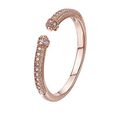 FJYOURIA Women's Adjustable Flower Finger Thumb Open Ring 18ct Rose Gold/Platinum Plated Ring with Shiny Crystal u9C9dc