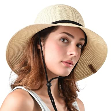 ad7d60ef Image Unavailable. Image not available for. Colour: FURTALK Women's Wide  Brim Sun Beach Hat Braided Bucket with Wind Lanyard UPF ...