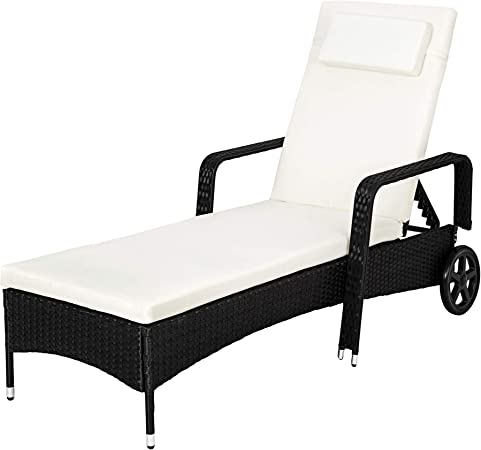 TecTake Tumbona chaise longue de poli ratán tumbona de jardín silla de terraza - disponible en diferentes colores - (Negro): Amazon.es: Hogar