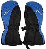HEAD Ski Mittens Blue / Black Insulated Fur Lining Rubberised Palm Side Zip Fasten
