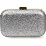 BMC Glitter Covered Fabric Hard Case Alloy Chain Strap Fashion Handbag Clutch