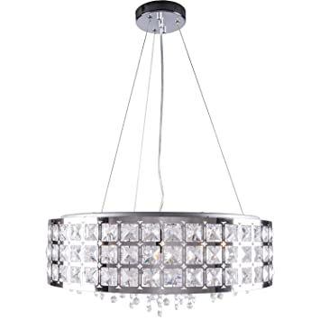 Amazon 5 light round crystal pendant light in chrome finish with 5 light round crystal pendant light in chrome finish with clear crystal joshua marshal 700060 mozeypictures Gallery