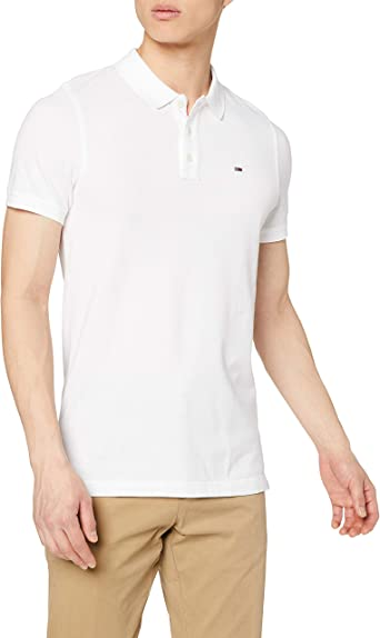 Tommy Hilfiger Original Fine Pique Polo, Bianco (Classic White 100), Small Uomo