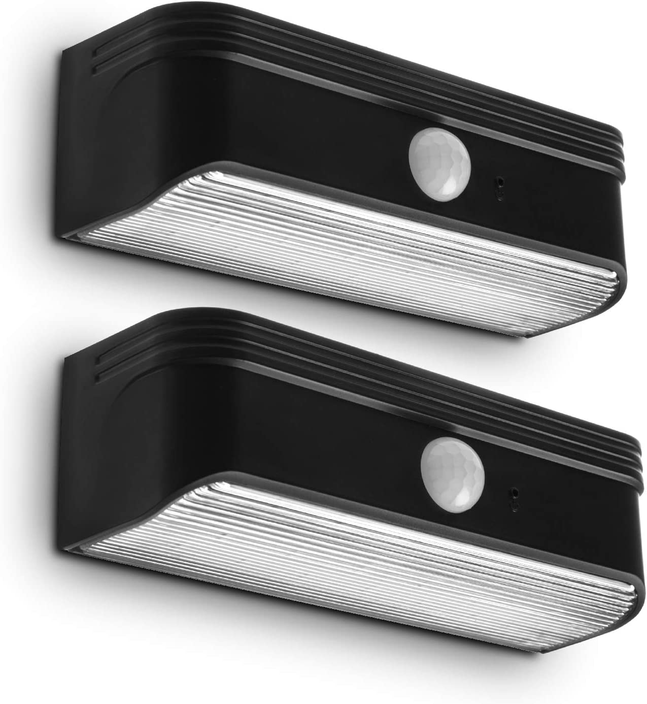 Home Zone Security Solar Step Lights - Motion Sensor LED Outdoor Deck and Step Lights with No Wring Required, 2-Pack