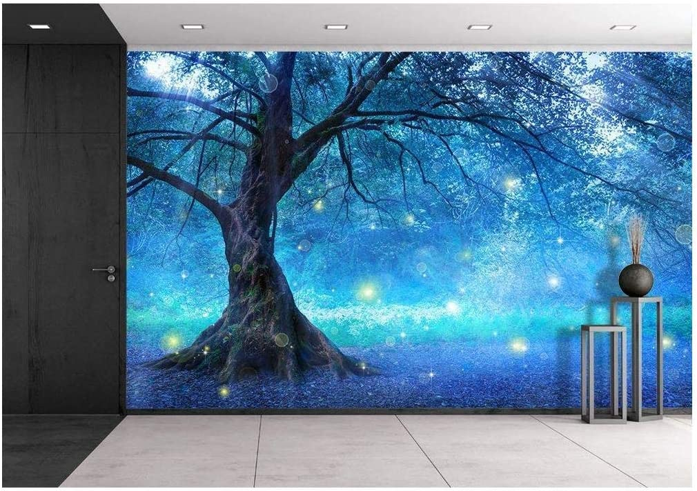 wall26 - Fairy Tree in Mystic Forest - Removable Wall Mural | Self-Adhesive Large Wallpaper - 100x144 inches