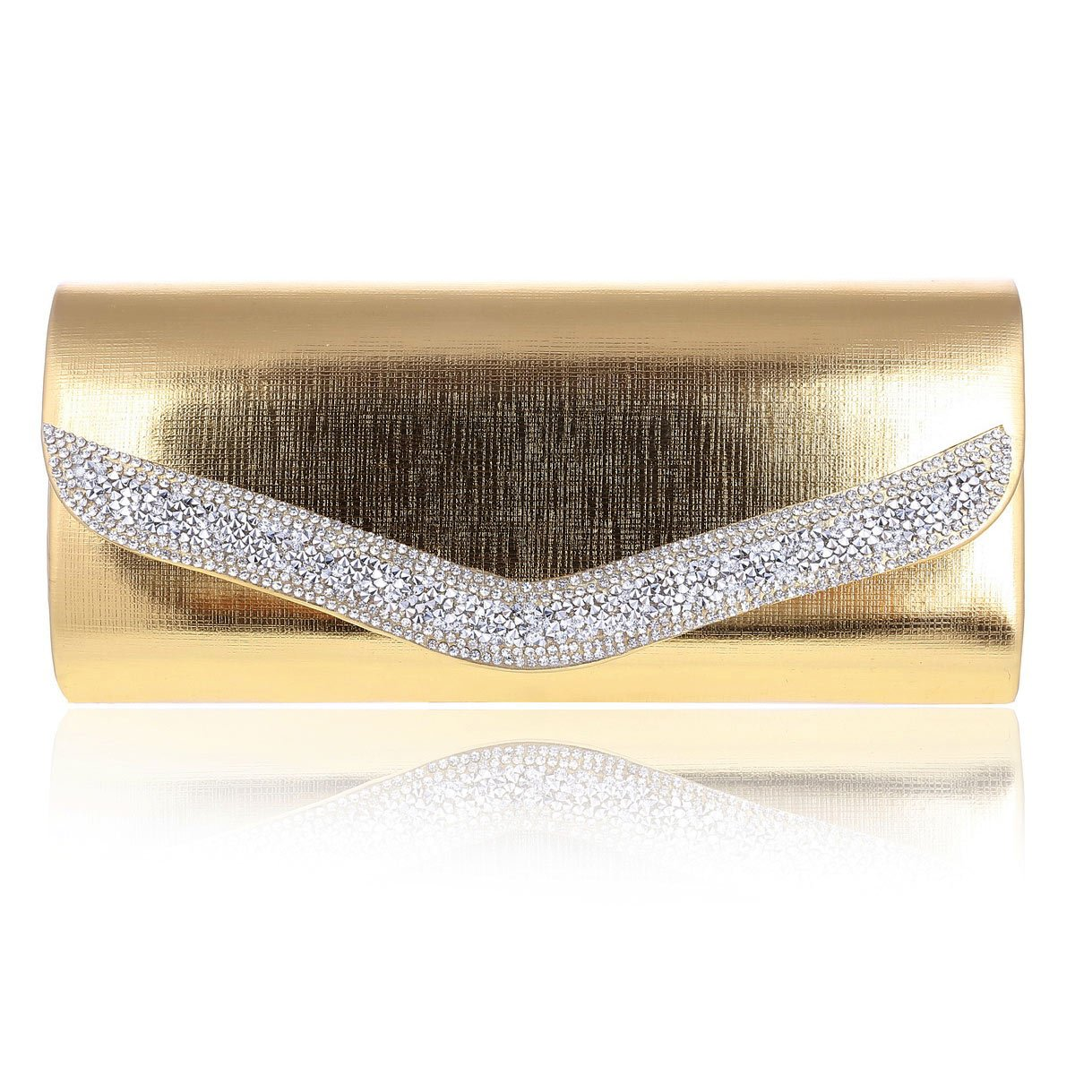 Damara Womens Glitter Rhinestone Line Metalic Evening Bag