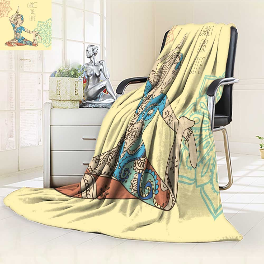 DOLLAR Blanket,ornament beautiful card with vector yoga geometric element hand drawn perfect c Traveling, Hiking, Camping, Full Queen, TV, Cabin, Couch, Bed Throw(60''x 50'')
