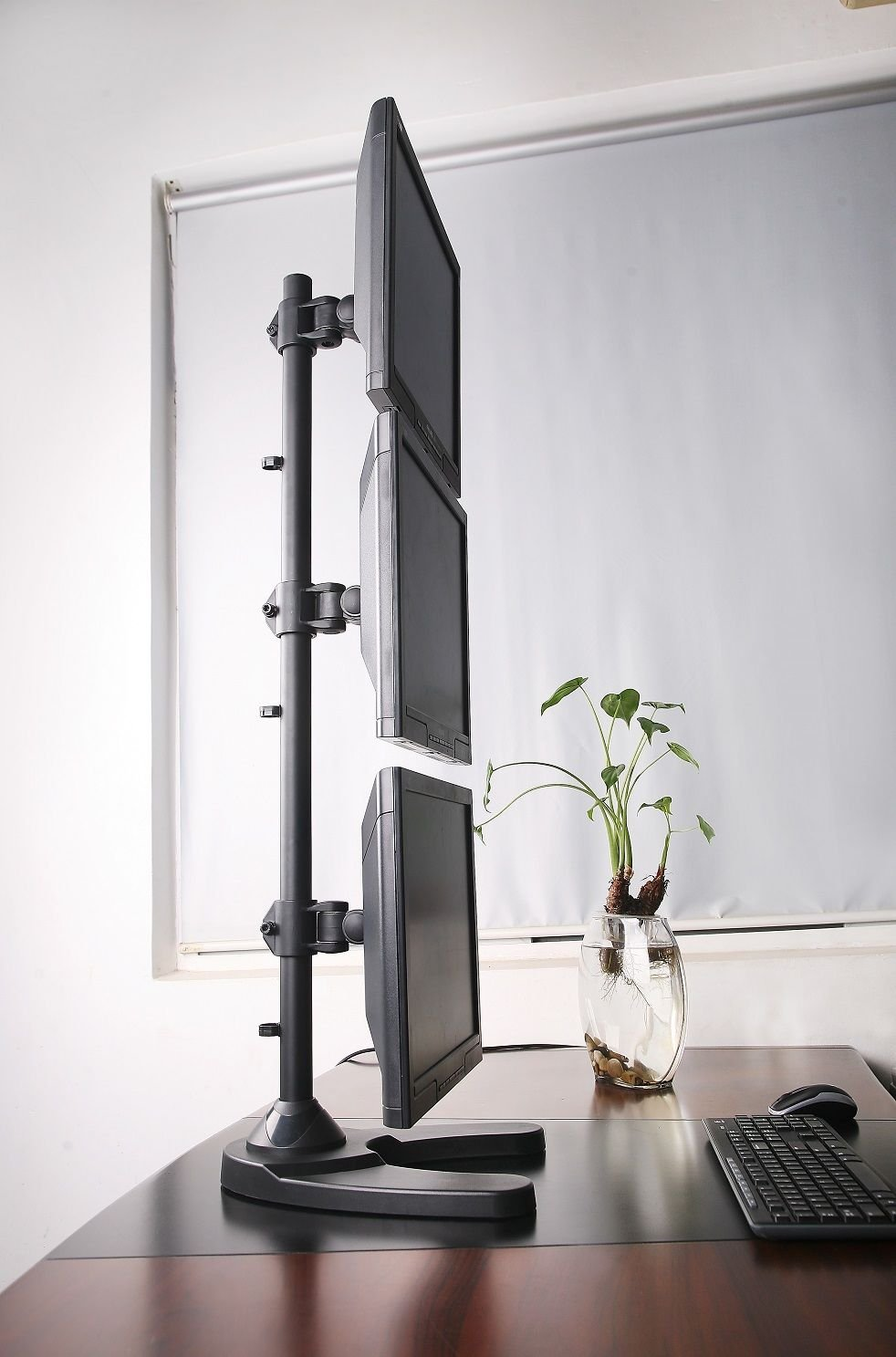 USED Triple Monitor Desk Stand/Mount Free Standing Vertical 3 Screens upto 27'' by SANOXY (Image #4)