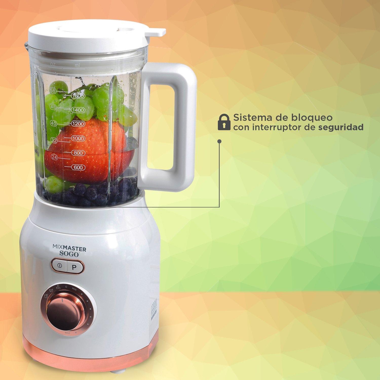 Sogo Mix Master Batidora de vaso, Licuadora americana de 1200W con jarra de cristal de 1.6L, cuchilla de 6 hojas de acero inoxidable, Color: Blanco: ...