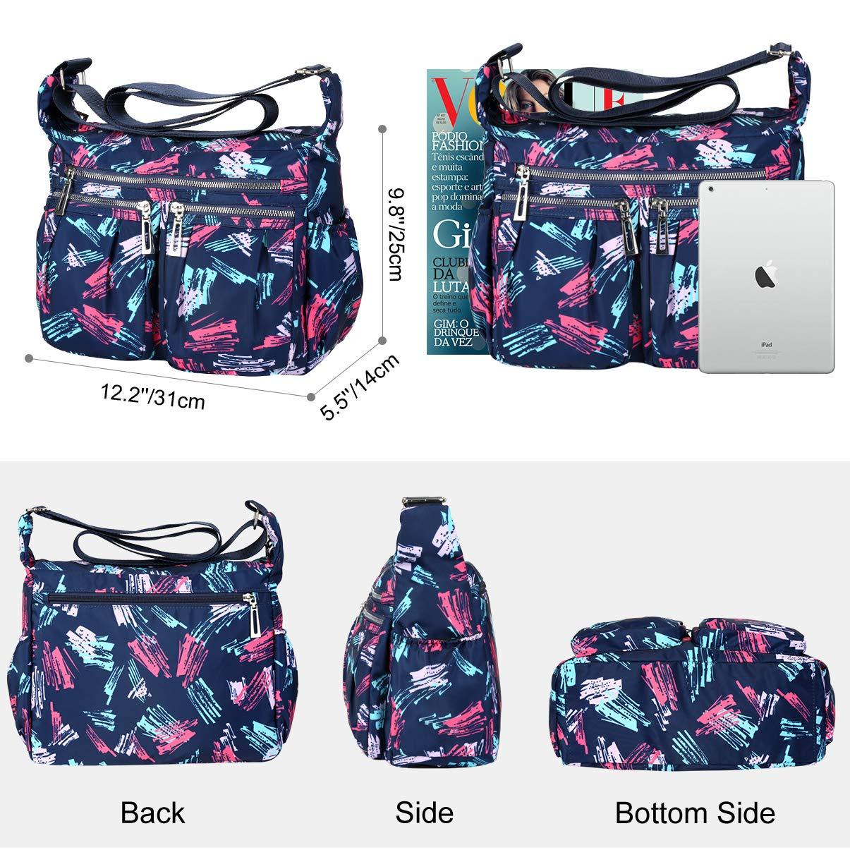 Vbiger Bolso Bandolera Mujer Grande Impermeable Nylon Bolso de Hombro Casual Bolsos de Mujer Bolso Shopper (Azul)