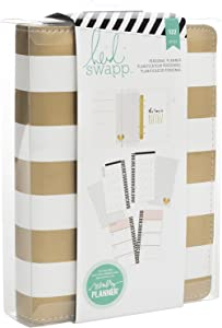 Heidi Swapp Memory Planner | Personal Planner by American Crafts | Gold and White Striped | 122 Pieces