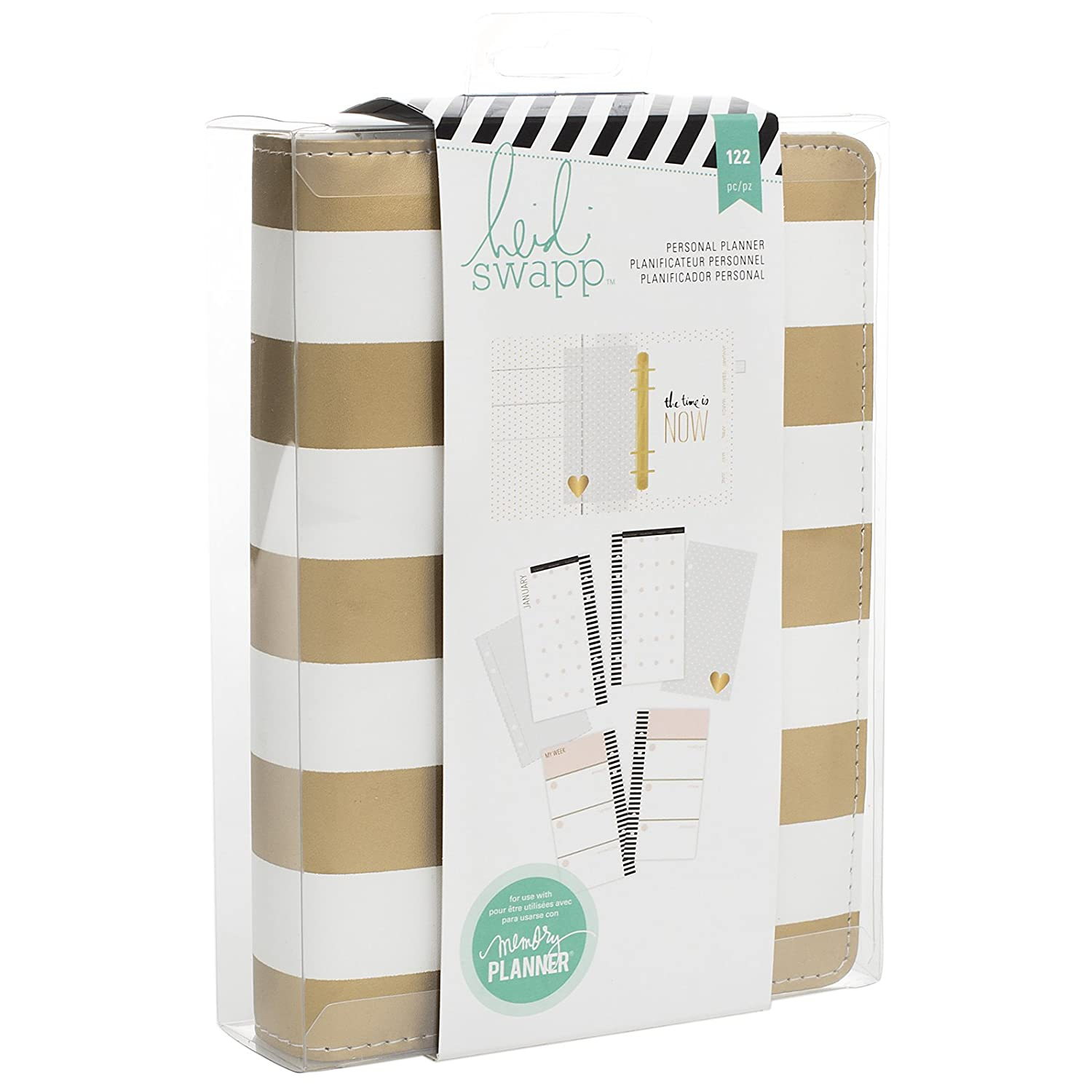 Heidi Swapp Memory Planner | Personal Planner by American Crafts | Gold and White Striped | 122 Pieces 312596