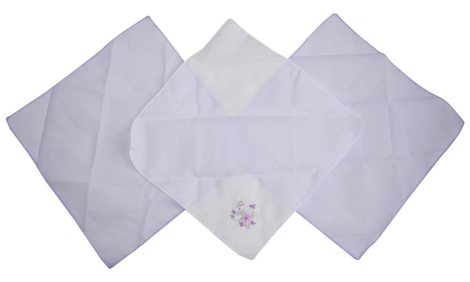 Passionelle® 6 Cotton Rich Ladies Handkerchiefs - 2 Embroidered & 4 Plain Colours