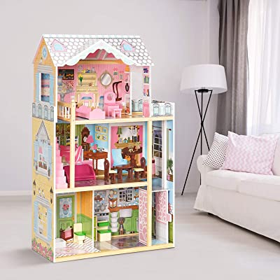 Dream Doll House Gift for Little Girls 3 Year Olds ROBUD Kids Wooden Dollhouse Toy