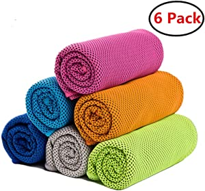 "ZONLY [6 Pack] Cooling Towel, Ice Sports Towel, Cool Towel for Instant Cooling,for Yoga, Travel, Golf, Gym,Camping, Fitness, Running, Workout & More Activities (35""x12"")"