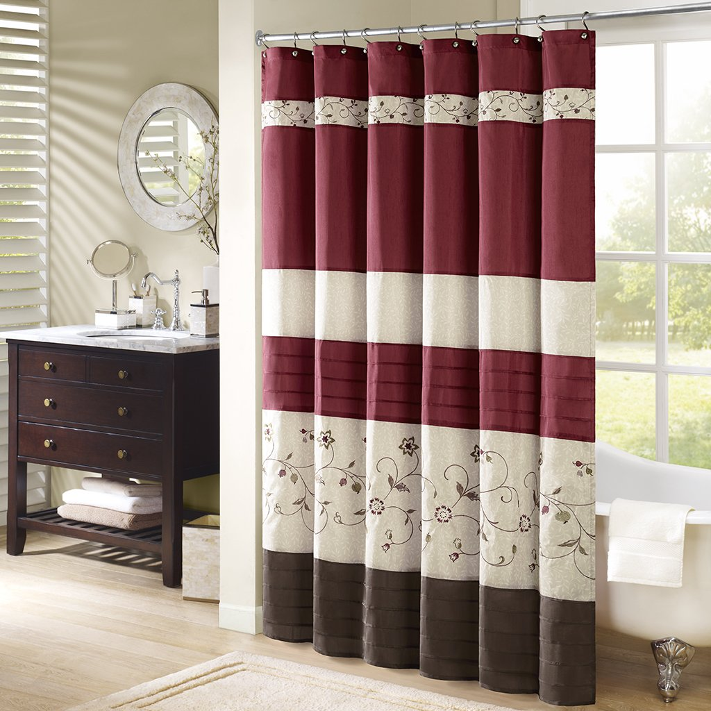 Red shower curtain - Amazon Com Madison Park Mp70 644 Serene Shower Curtain 72x72 Red 72x72 Home Kitchen