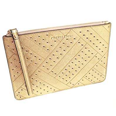 f280efa320cdcf Michael Kors Jet Set Grommet Leather Clutch Wristlet in Gold: Handbags:  Amazon.com