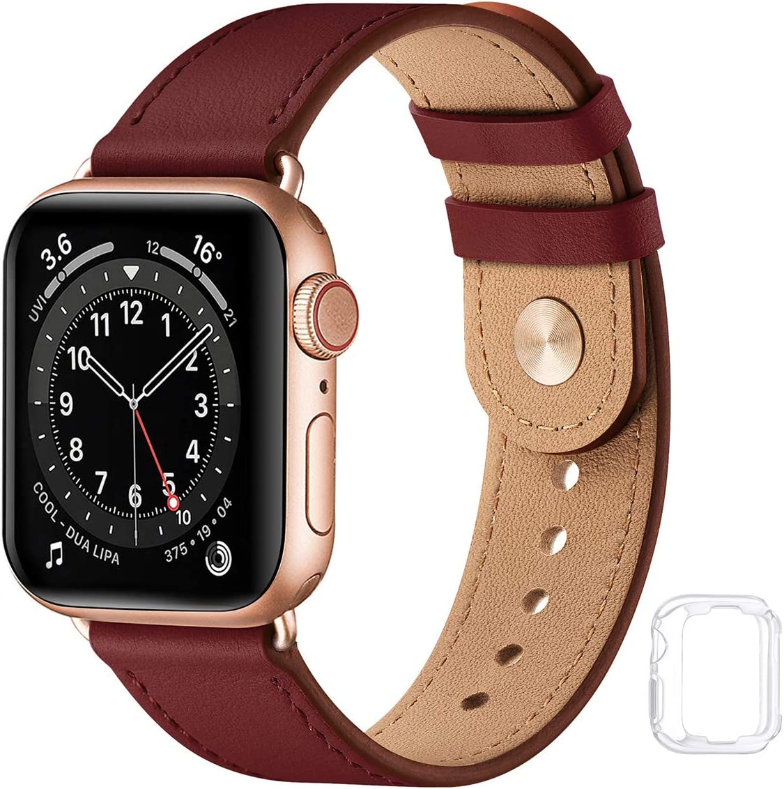 Soft Leather Watch Bands Compatible with Apple Watch Band 38mm 40mm 42mm 44mm, Special Watch Band Replacement Strap for Women Men for iWatch SE Series 6 5 4 3 2 1 (Wine with Rose Gold, 38MM/40MM)