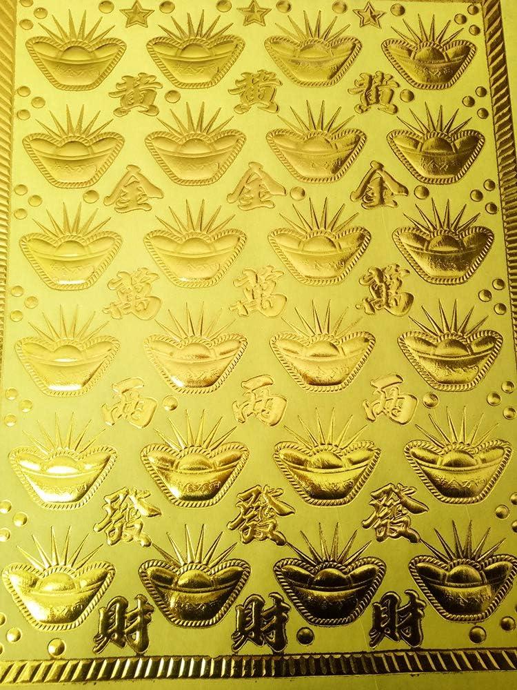 ZeeStar 20 Pcs Bronzing Yuanbao Joss Paper Hell Bank Notes for Funerals Style1 Gold Foil Incense Paper Ancestor