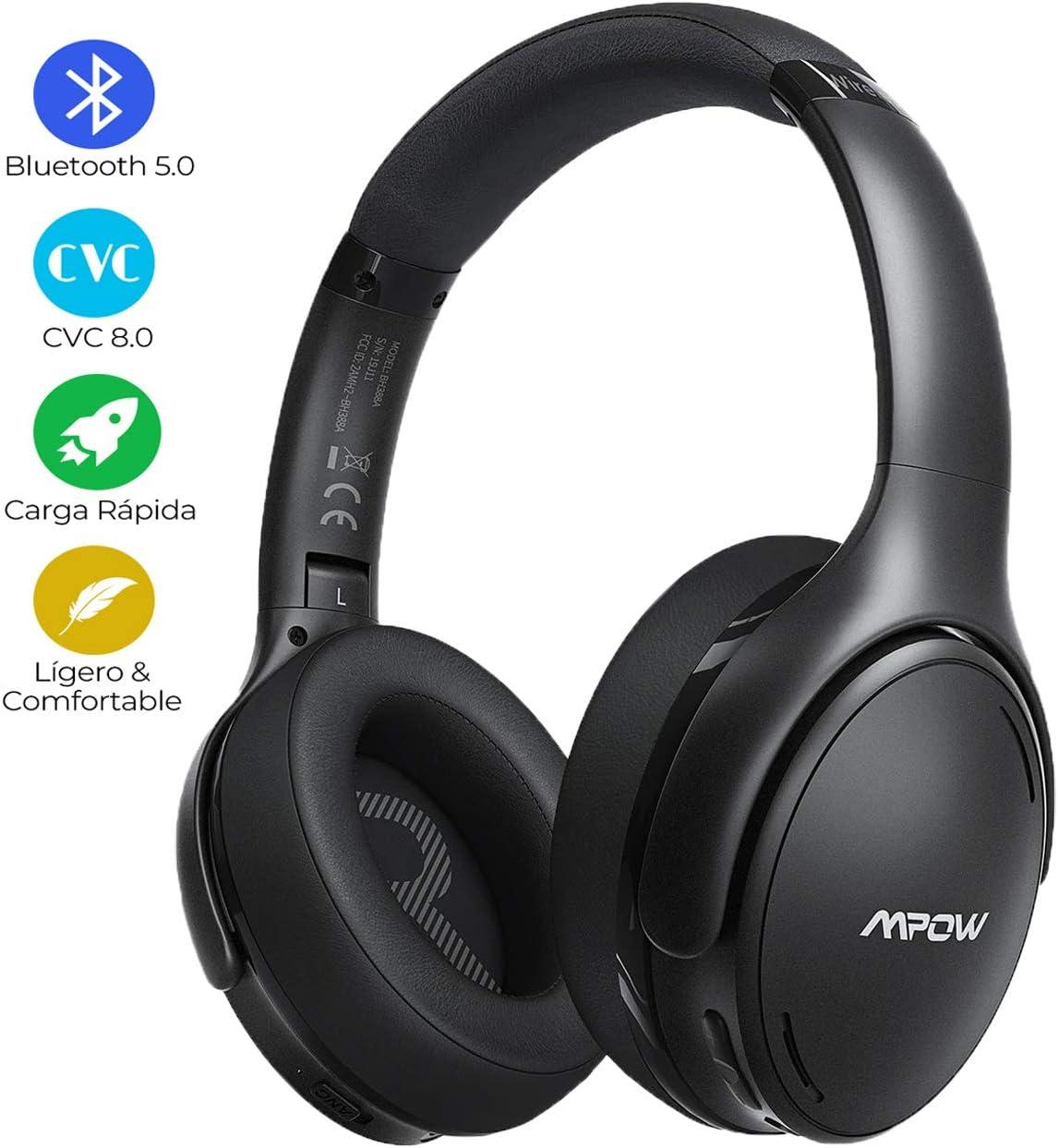Mpow Auriculares con Cancelación de Ruido con Bluetooth 5.0, 30 Horas de Juego, Carga Rápida, Auriculares Diadema Bluetooth con Micrófono CVC 8.0, Cascos con Cancelación de Ruido para Móvil/TV/PC