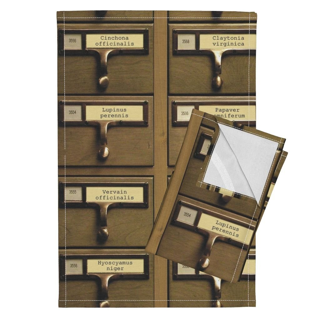 Roostery Library Card Catalog Wood Herbology Plants File Faux Tea Towels Professor Darksage's Catalog by Peacoquettedesigns Set of 2 Linen Cotton Tea Towels