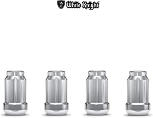 White Knight 3807-4 Chrome M12x1.50 Spline Lug Nut with Key, 4 Pack