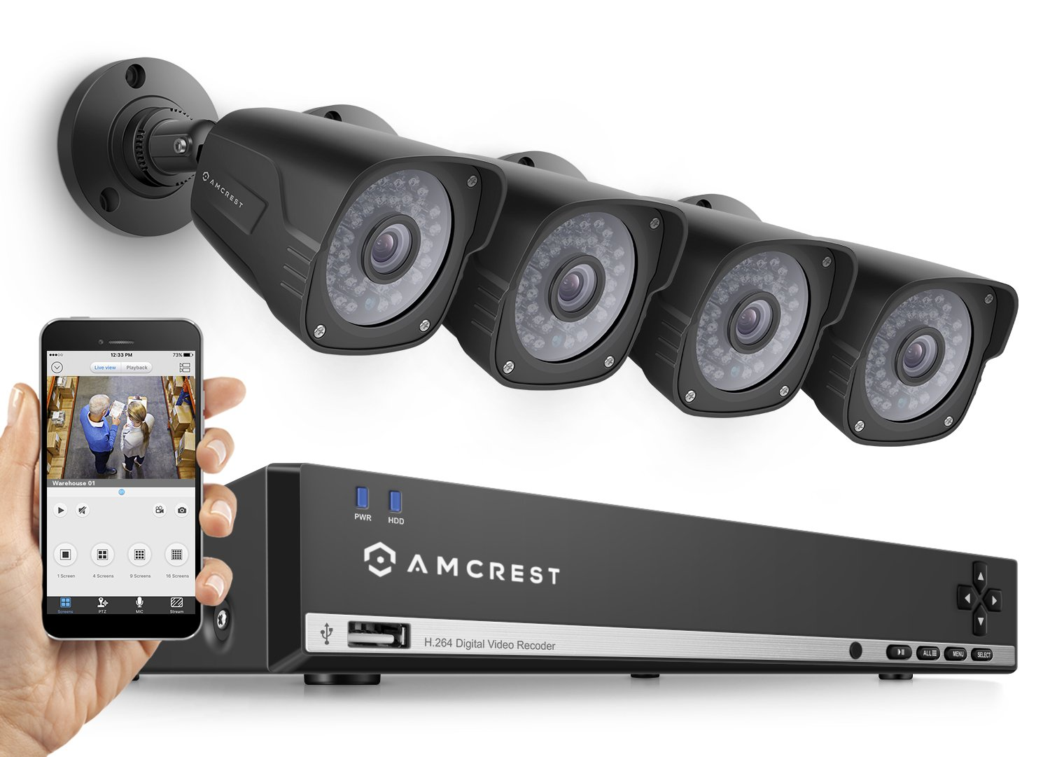 Amcrest UltraHD 3MP 4CH Video Security System - Four 2048TVL 3.0-Megapixel Weatherproof IP66 Bullet Cameras, 114ft IR LED Night Vision, NO HDD Included, HD Over Analog/BNC, Smartphone View (Black)