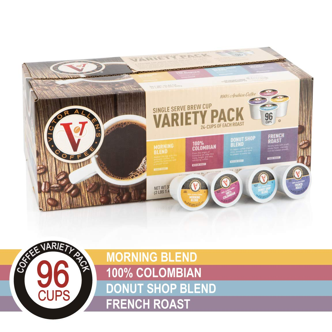 Donut Shop, Morning Blend, 100% Colombian, and French Roast Variety Pack for K-Cup, Keurig 2.0 Brewers, 96 Count Victor Allen's Coffee Single Serve Coffee Pods by Victor Allen