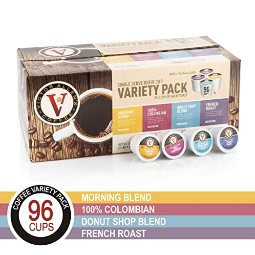 Donut Shop, Morning Blend, 100% Colombian, and French Roast Variety Pack for K-Cup, Keurig 2.0 Brewers, 96 Count Victor Allen's Coffee Single Serve Coffee Pods