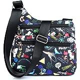 Nawoshow Nylon Floral Multi-Pocket Crossbody Purse Bags for Women Travel Shoulder Bag