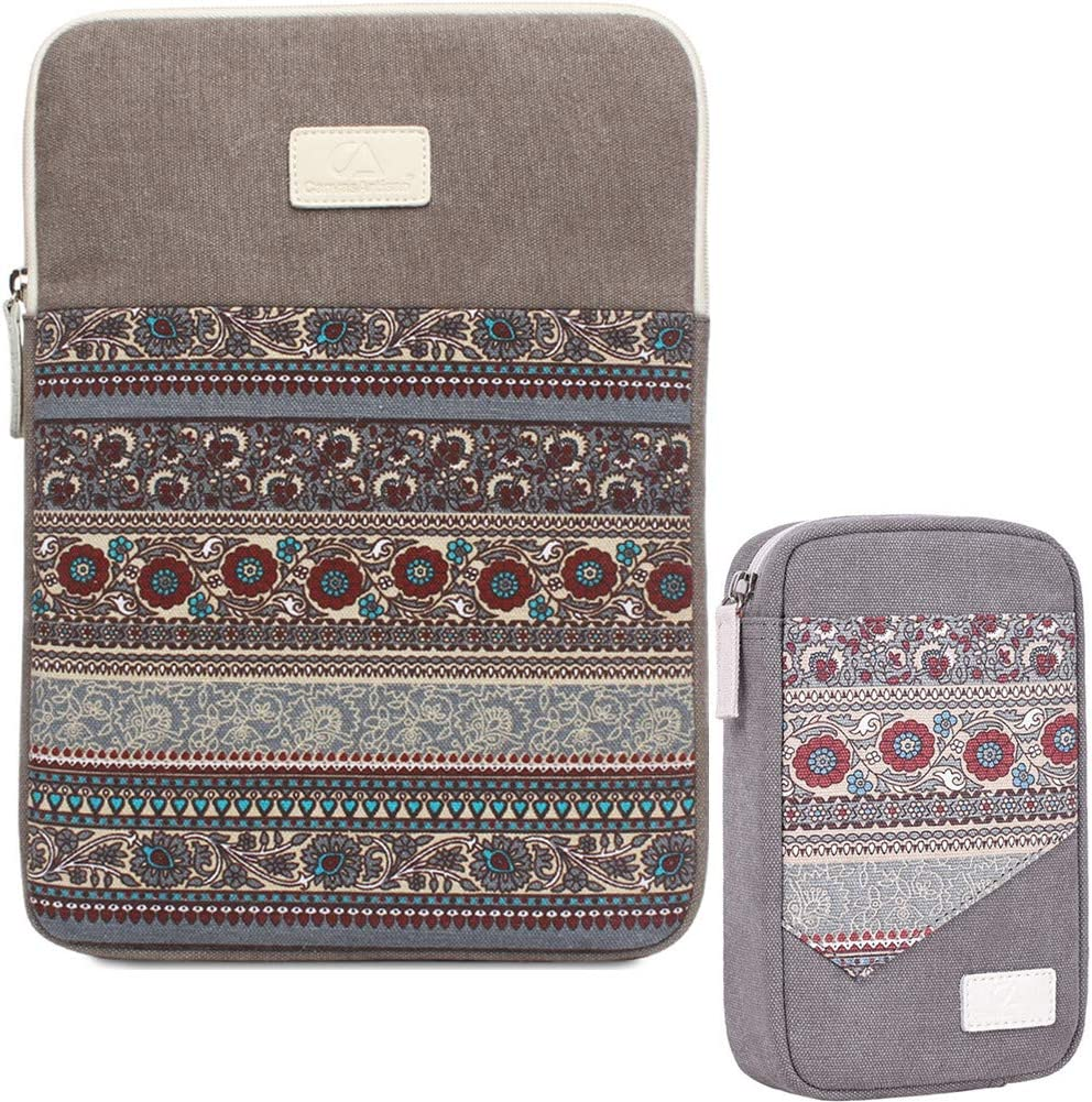 15 Inch Laptop Sleeve 15.6 Inch Bohemian Canvas Protective Notebook Bag Computer Case Cover for MacBook Pro MacBook Air Chromebook Acer Dell HP Samsung Sony + Cable Organizer (Vertical,Gray)