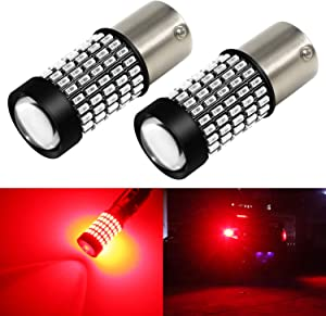 Phinlion 1156 LED Red Brake Light Bulbs 2800 Lumens Super Bright 3014 103-SMD BA15S 1003 1156 7506 LED Bulb with Projector for Turn Signal Brake Tail Stop Lights