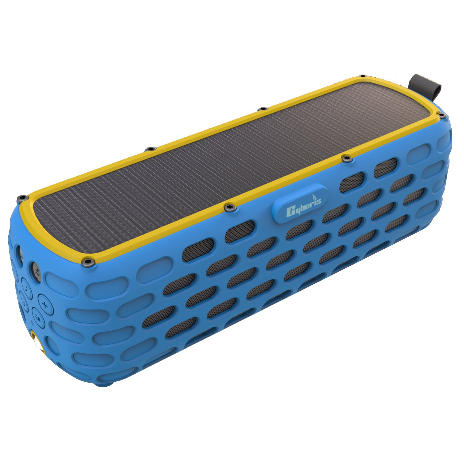 CYBORIS Portable Bluetooth Speaker Solar Powered Amplifier 30+ Hours Playtime HiFi Bass Stereo Sound Rugged Wireless Outdoor Speakers for Travel, Riding, Camping (The 2nd Generation ES-T63)