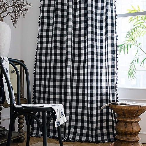 ColorBird Buffalo Check Semi-Blackout Window Curtains 2 Panels Farmhouse Style Cotton Linen Darkening Curtains
