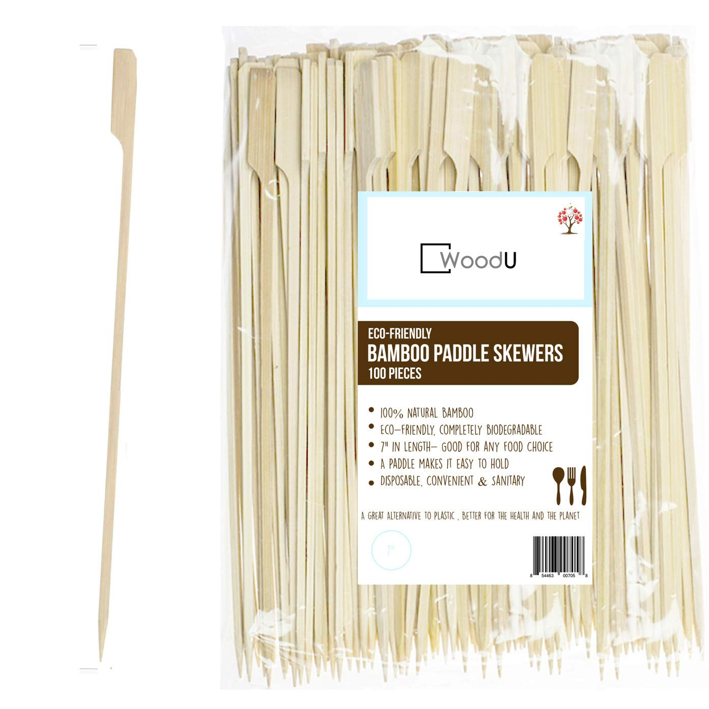 "WoodU Bamboo Picks Paddle Skewers, Cocktail Picks, 7"" Eco-Friendly Biodegradable, Great for Grilling, BBQ Picks, Fruit Sticks,Chocolate Fountain (Pack of 100) One White Apple"
