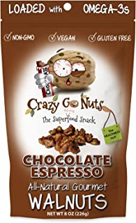 product image for Crazy Go Nuts Walnuts - Chocolate Espresso, 8 oz (1-Pack) - Healthy Snacks, Vegan, Gluten Free, Superfood - Natural, Non-GMO, ALA, Omega-3 Fatty Acids, Good Fats, and Antioxidants