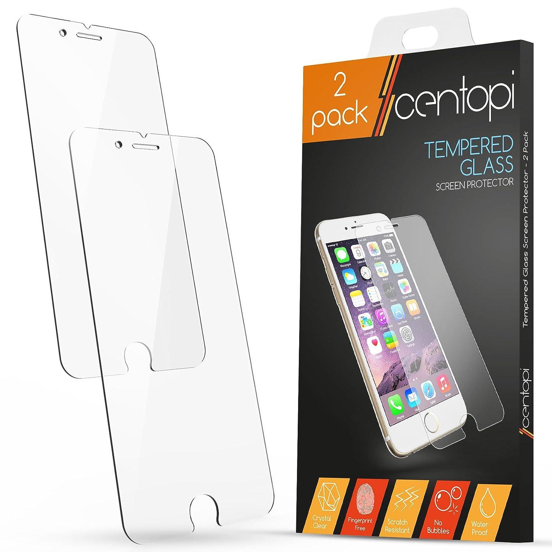 Protector de pantalla de vidrio templado para iPhone 6/6S Centopi [Pack de 2]: Amazon.es: Electrónica