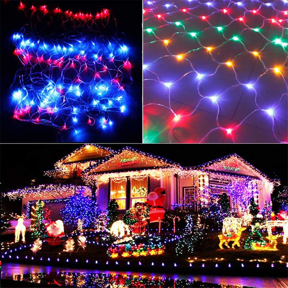 ELEGENCE-Z Luce Natalizia Net Luce Rete da Pesca Luce Natale luci di Vacanza Esterna Impermeabile LED Stellato Stringa Matrimonio Natale luci-colore