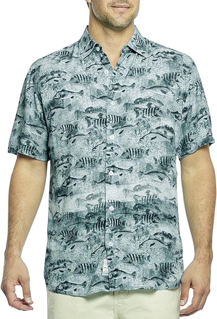 Margaritaville Mens Short Sleeve Hawaiian Print Shirt