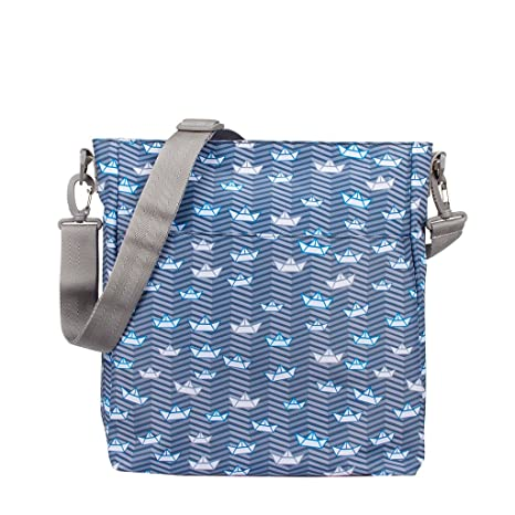 Kiwisac Trendy Marina Bolso para Carro de Bebé Universal Diseño Original de Barquitos de Papel en tono Azul Bolso Organizador con Cambiador, Bandolera ...