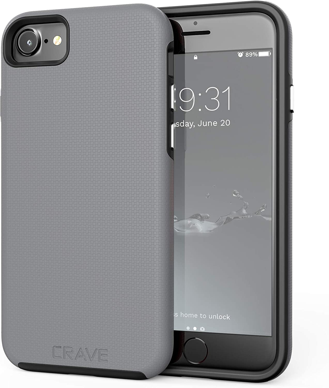 Crave iPhone SE 2020 Case, iPhone 8 Case, iPhone 7 Case, Dual Guard Protection Series Case for Apple iPhone SE/8/7 (4.7 Inch) - Slate