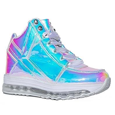 b6987942a Amazon.com | YRU Aiire Atlantis, Hologram high top Sneaker | Fashion ...