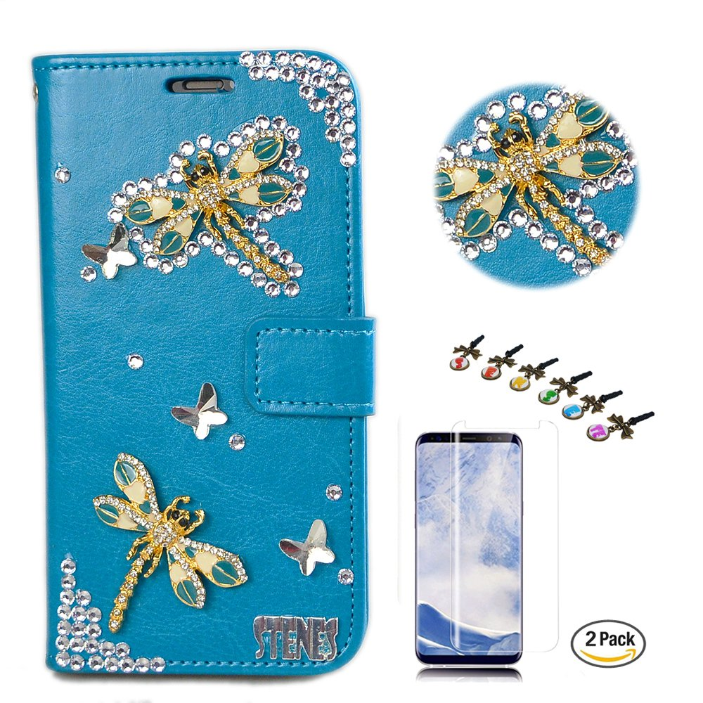 STENES LG G7 ThinQ Case - Stylish - 3D Handmade Crystal Dragonfly Butterfly Design Wallet Credit Card Slots Fold Media Stand Leather Cover with Screen Protector for LG G7 ThinQ - Blue