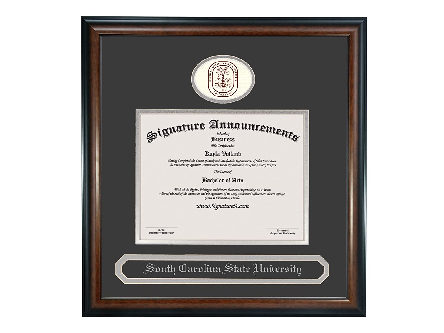 Signature Announcements South-Carolina-State-University Undergraduate Sculpted Foil Seal /& Name Graduation Diploma Frame 20 x 20 Matte Mahogany