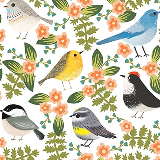 Birds and Flowers on White Tissue Paper # 241 ~ 10 Large Sheets