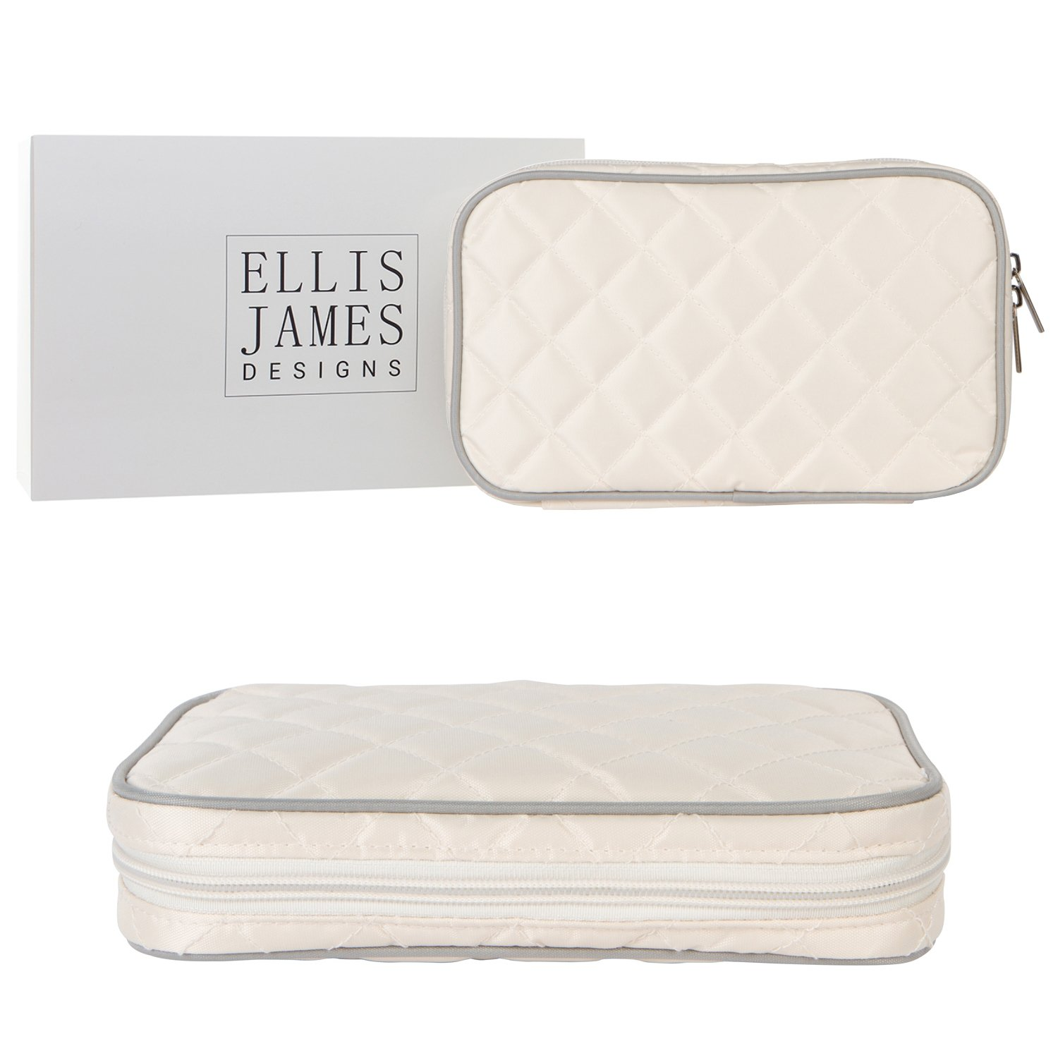 Ellis James Designs Quilted Travel Jewelry Organizer Bag Case - Cream - Soft Padded Traveling Jewelry Roll Pouch with Compartments and Necklace Holder