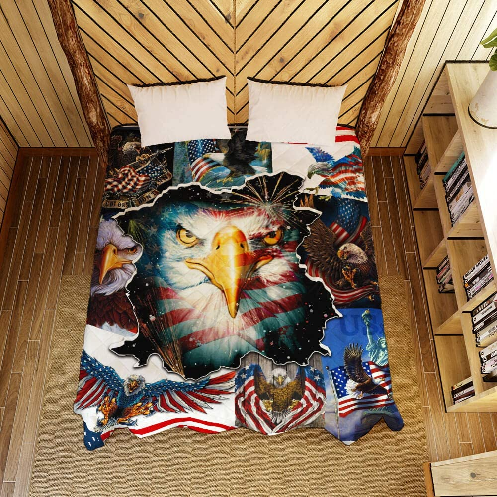 GEEMBI Quilt Bedding Printed-American Bald Eagle Quilt Blanket PSL1029Q King,Queen,Twin Twin Size Coverlet Quilt for All Season-Soft Microfiber Bedspread-Quilts Gifts